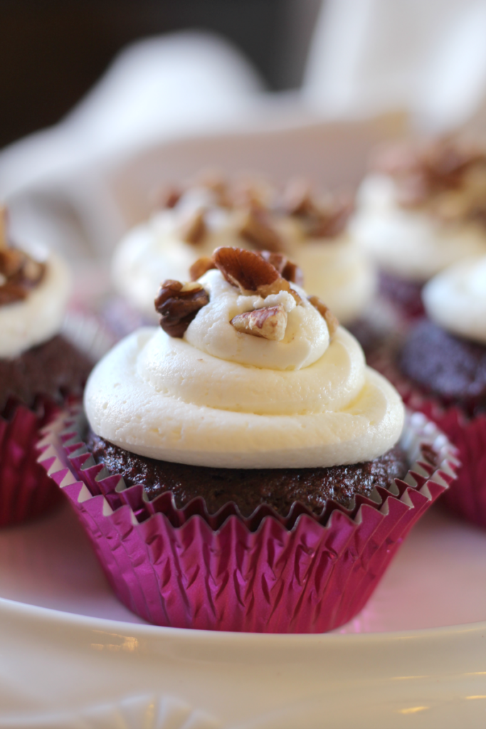 These Pecan Red Velvet Cupcakes are moist and sweet, with a little bit of delicious crunchiness.