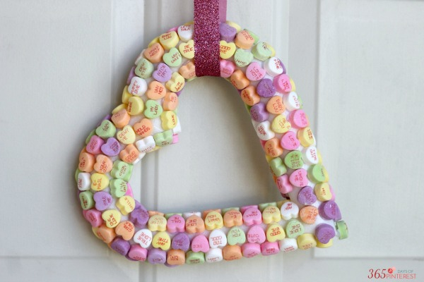 candy heart wreath and ribbon