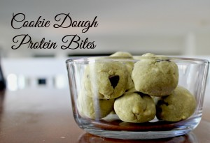 Raw cookie dough protein ball recipe. This healthy treat is gluten free and packed with veggies and protein.