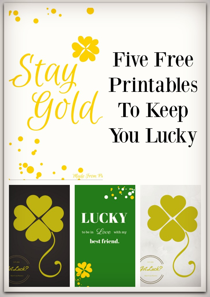 St. Patrick's Day is right around the corner! Here are Five Free Printables To Keep You Lucky and to add a little gold to your life.