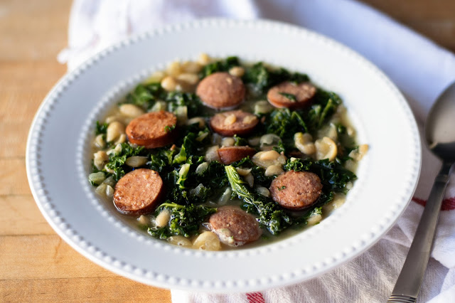 This White Bean, Sausage, and Kale Soup Recipe is so simple, so filling, and so delicious and is perfect for this unexpected early spring winter weather.