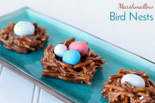 With Easter just past, there is often a plethora of leftover Easter candy laying around the house. These Marshmallow Bird Nests are a great way to use up some of those leftover sweets to make something even better!