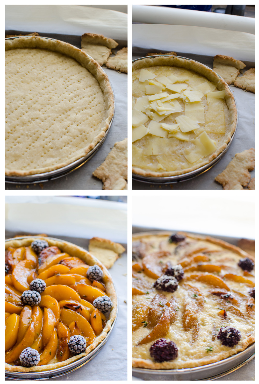 Cheddar, Caramelized Peach and Thyme Tart - A wonderfully fruity, tangy creamy fruit tart! A unique flavor profile that will wow your guests and perfect for any season!