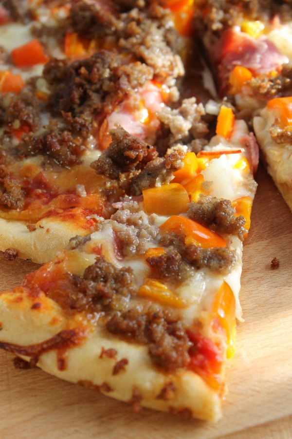 Before the pizza man can even deliver, you can have a fresh, homemade, sausage, cheesy pizza.
