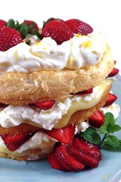 Lemon Cream Strawberry Angel Food Cake