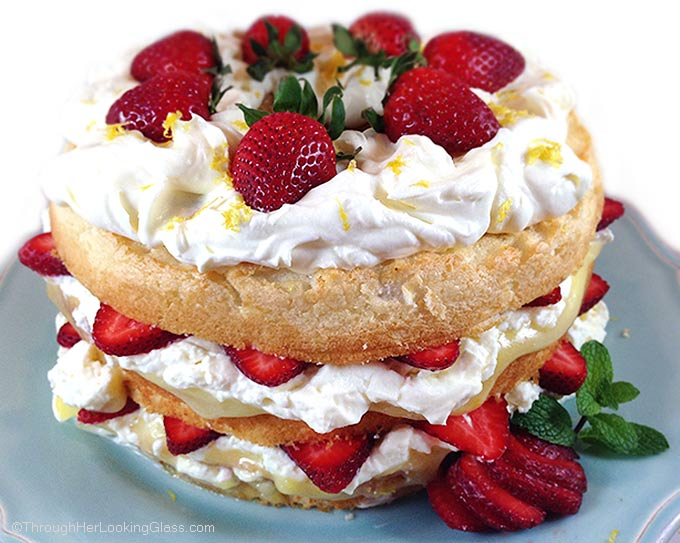 Lemon Angel Food Cake With Strawberries