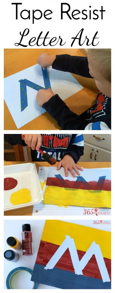 Tape Resist Letter Art is an easy DIY craft that encourages kids to get artsy and creative with the alphabet!