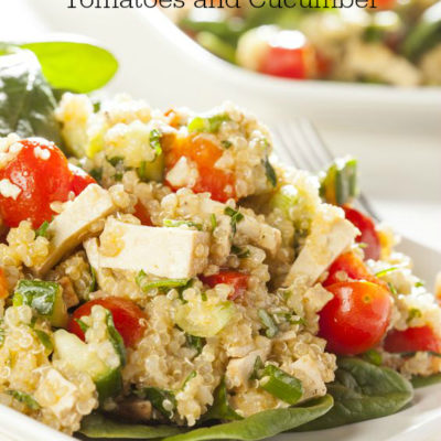 Quinoa Salad with Roasted Bell Peppers, Tomatoes, and Cucumber