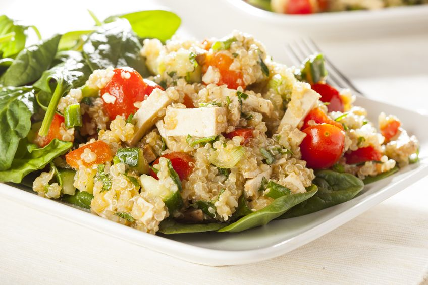 This Quinoa Salad with Roasted Bell Peppers, Tomatoes, and Cucumber is a powerhouse salad that is utterly delicious and nutritious! No guilt here.