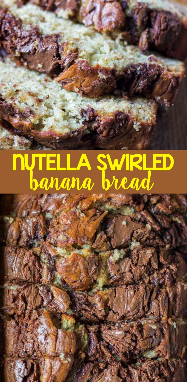 This Nutella Swirled Banana Bread is super moist and incredibly indulgent with chocolate hazelnut Nutella swirled on top and inside.