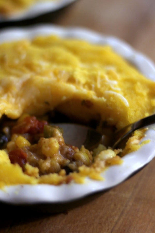 This great vegetarian tamale pie is a good way to introduce the family to meatless monday!