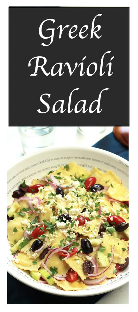 Quick and easy Greek Ravioli Salad- With just a few ingredients you can turn your pre-packaged Ravioli into a delicious salad. A great way to lighten it up your for the summer.