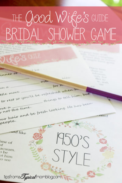 1950's Style Printable Funny Bridal Shower Game