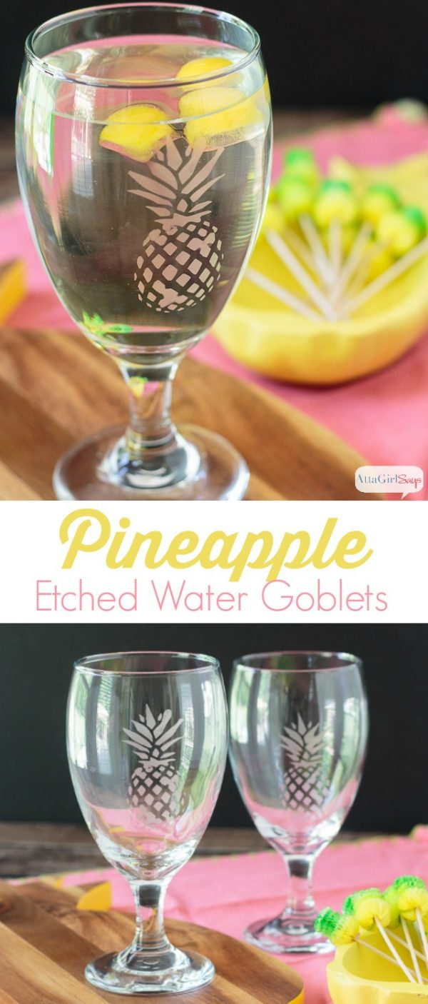 These DIY Etched Pineapple Glasses are a great way to get a high-end look for a reasonable price. They're perfect for a beach-themed party!