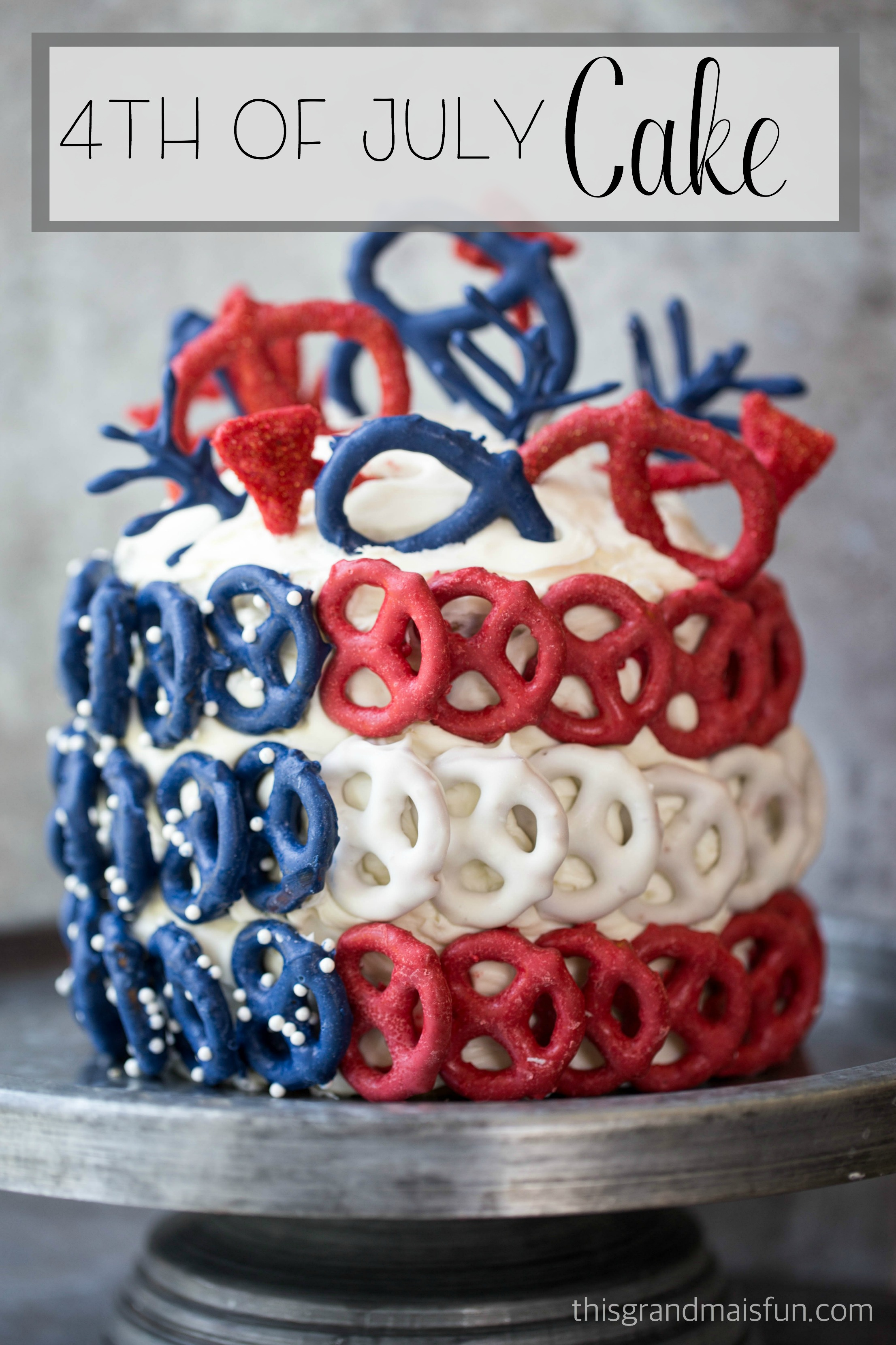Stun your guests with this bold 4th of July Pretzel Cake. You won't ...