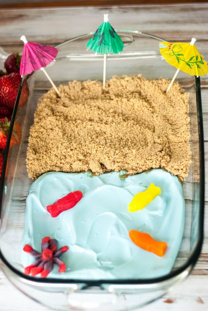 "Can't get to the beach? You can at least dream about it with this darling Beach Theme Fruit Dip. People love dipping fruit into the ""ocean"" then into the ""sand"". Everyone will think that you are SO creative!"