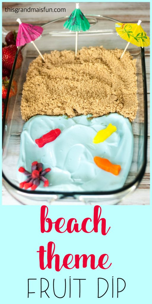 """Can't get to the beach? You can at least dream about it with this darling Beach Theme Fruit Dip. People love dipping fruit into the """"ocean"""" then into the """"sand"""". Everyone will think that you are SO creative!"""