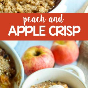Sweet and gooey apples and peaches combined and topped with a cinnamon crisp topping is the perfect end of summer/early fall dessert! This Peach Apple Crisp recipe comes together so quickly and tastes like a big bowl of fall. Serve it warm right out of the oven with a scoop of vanilla ice cream and wait to be transported to the harvest season