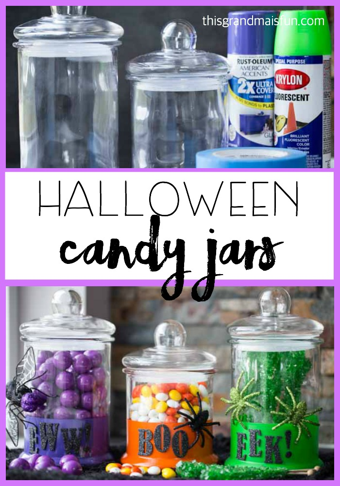 Easy to make and big on color! Make these Halloween Candy jars in one afternoon and then enjoy!