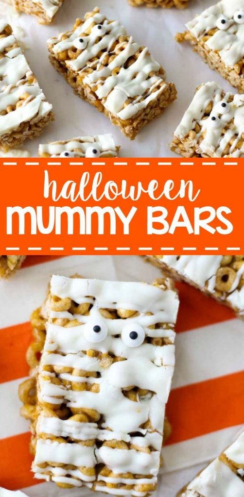 Let the spooky begin! These Mummy Cereal Bars are a no bake dessert recipe designed to take your halloween parties up a notch. Plus they are no bake!