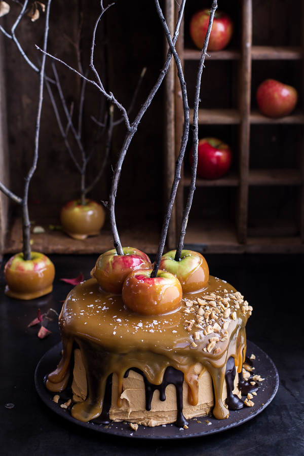 salted-caramel-apple-snickers-cake-Cakes are one of those art forms that are so satisfying to stare at! Not to mention eat. These 13 Crafty Fall Cakes capture fall in a cake.