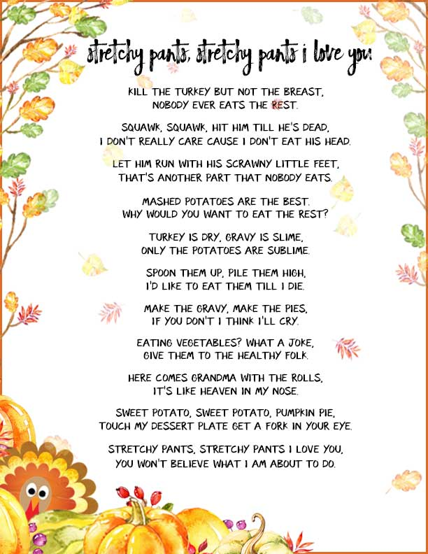 Funny Thanksgiving Poems - Add some silly poetry to your Thanksgiving table this year. Your grandkids will smile at these turkeys' antics, and the poetry will help their reading skills, too.