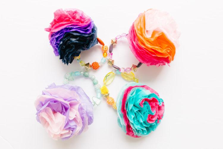 Tissue Paper Flower Bracelet
