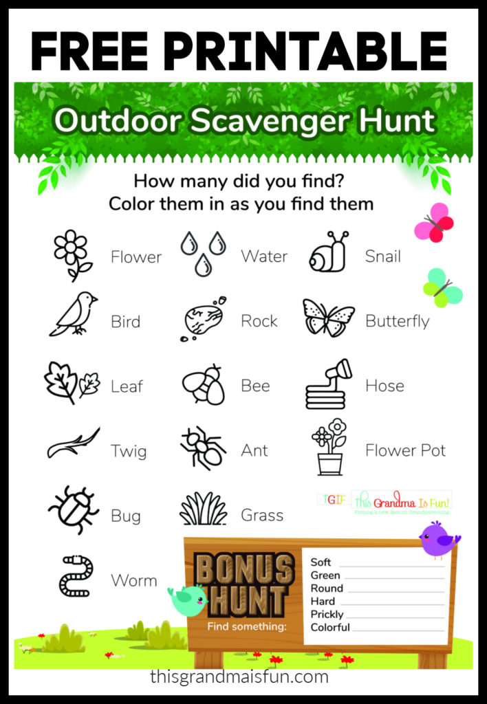 Outdoor Scavenger Hunt Free Printable