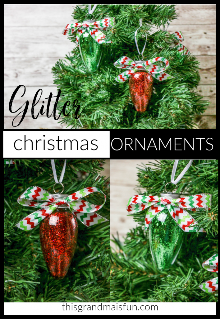 Glitter Christmas Tree Ornaments. Add a little glitter sparkle to your tree with these easy to make Glitter Ornaments.