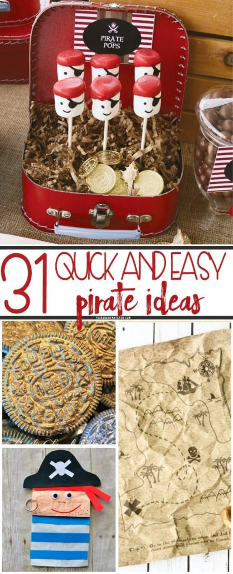 Collage images of pirate food, crafts and activities ideas