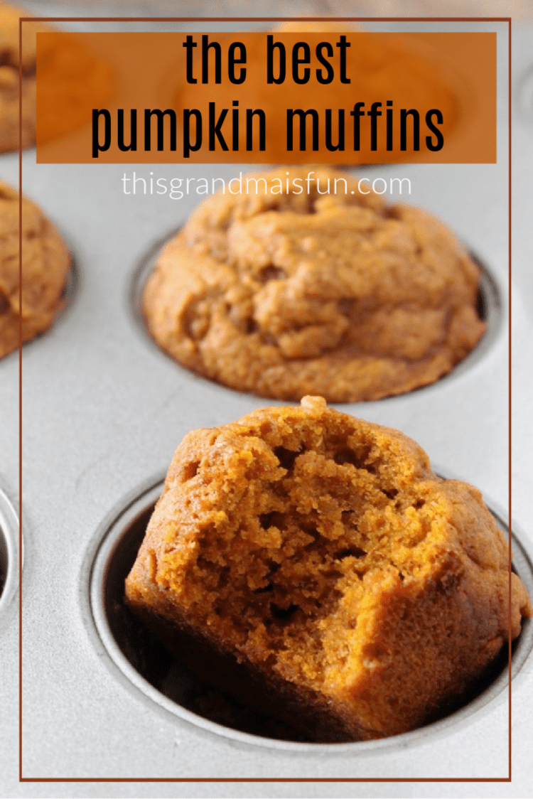 Pumpkin Muffins in Baking Tin With A Bite On One Muffin