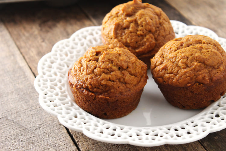 Three Ready To Eat Muffins On a Plate.