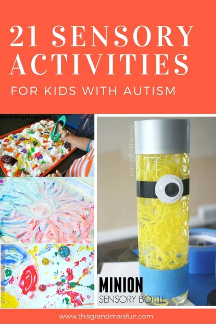 21 Sensory Activities for kids with Autism - a collage of different activities for sensory play; an ABC carwash, a minion sensory bottle, bouncy ball art and foam fireworks