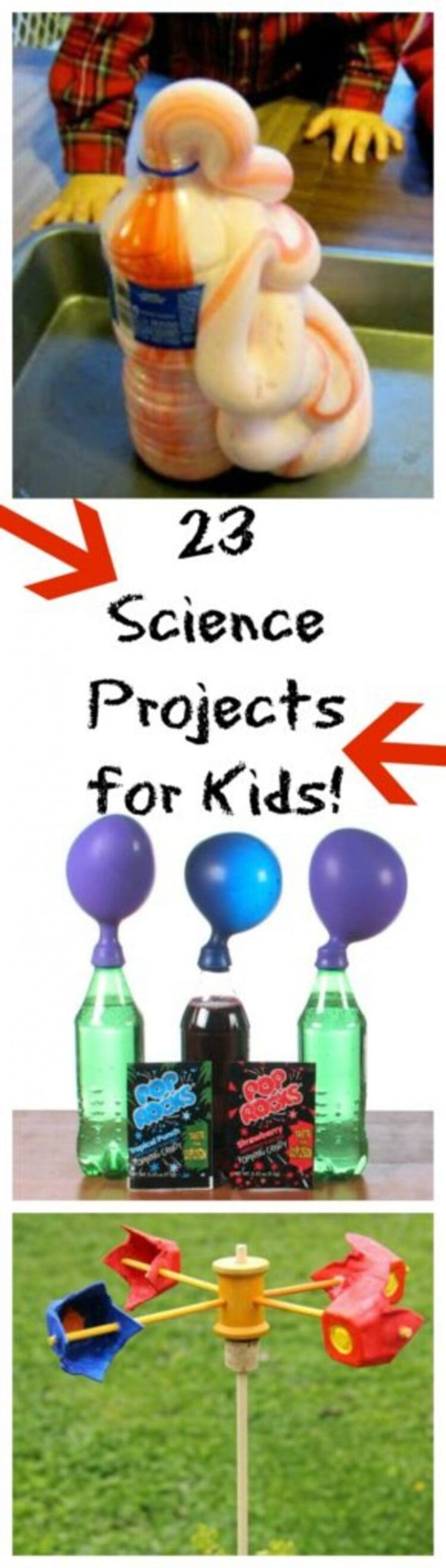 23 science projects for kids pinterest pin collage elephant toothpaste, blow balloons with soda, wind experiments
