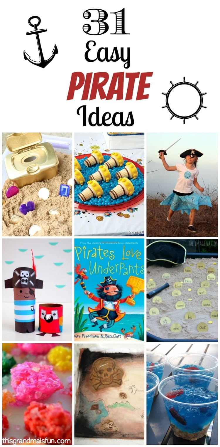 Collage images of pirate themed ideas such as food, activities, games and costumes