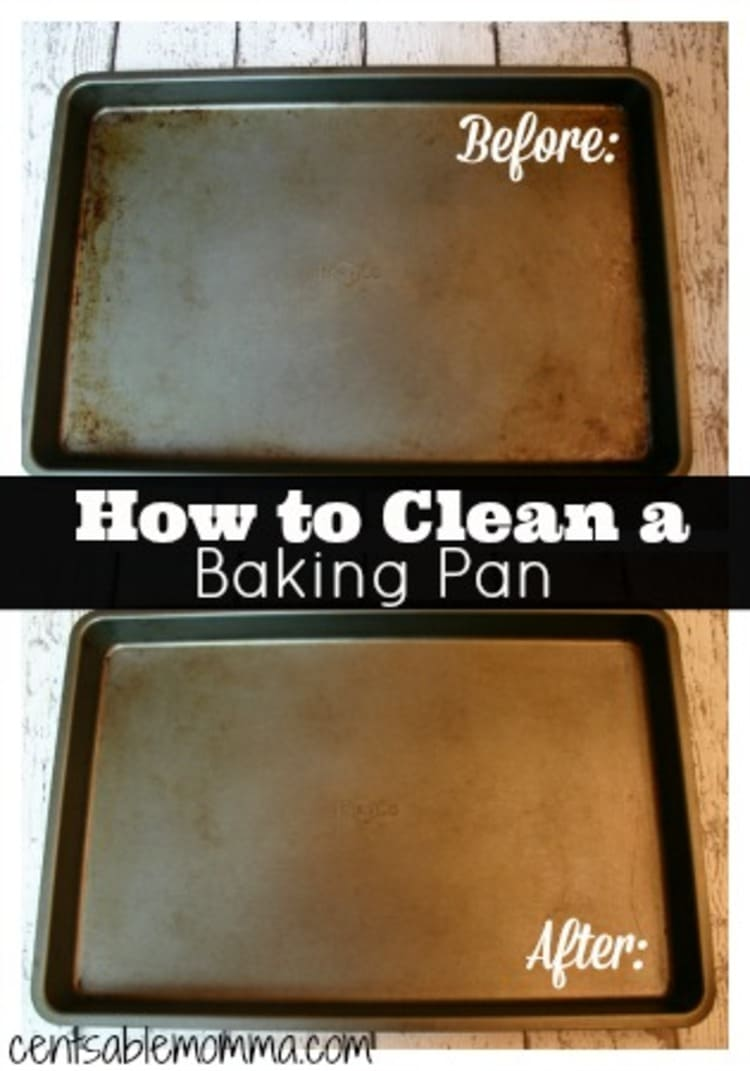 hydrogen peroxide baking pan cleaner before and after photo