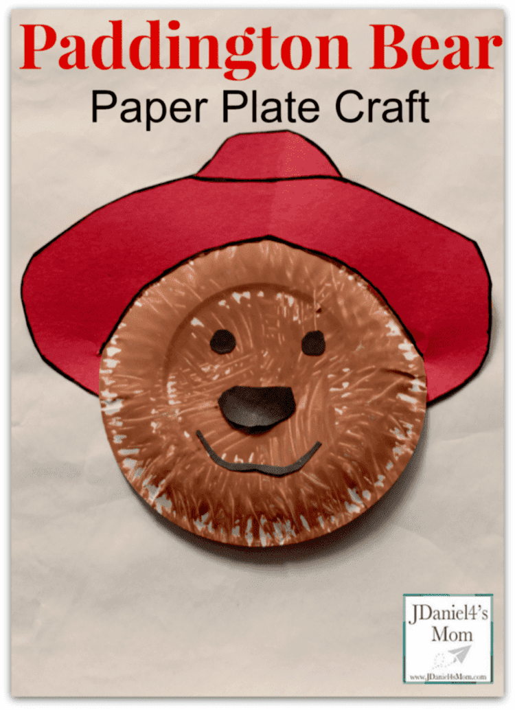paper plate craft paddington bear with a red hat and smiling