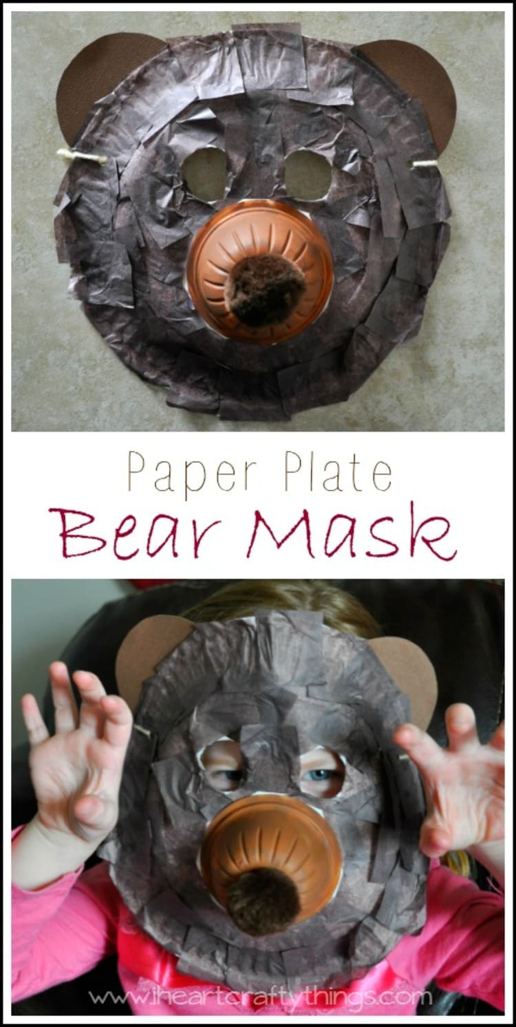 paper plate craft bear mask collage of two photos on a grey background