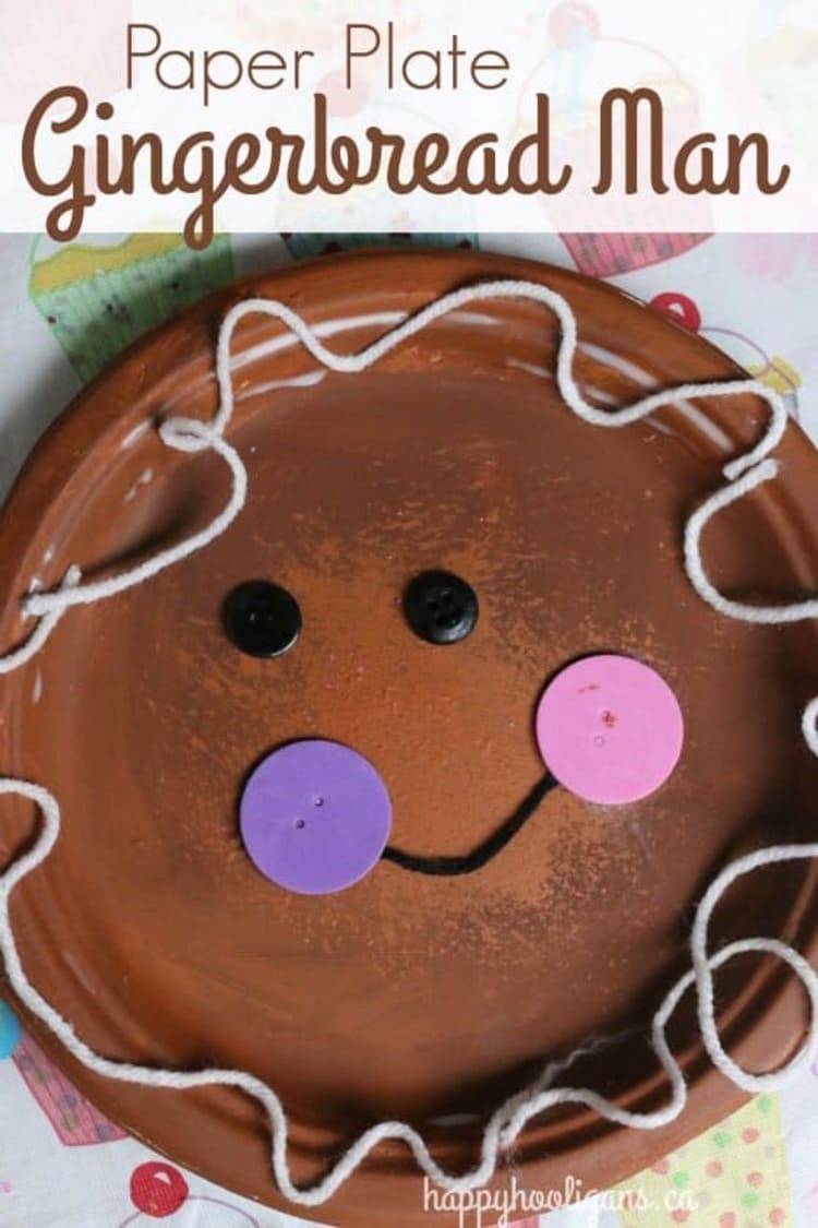 paper plate craft gingerbread man smiling