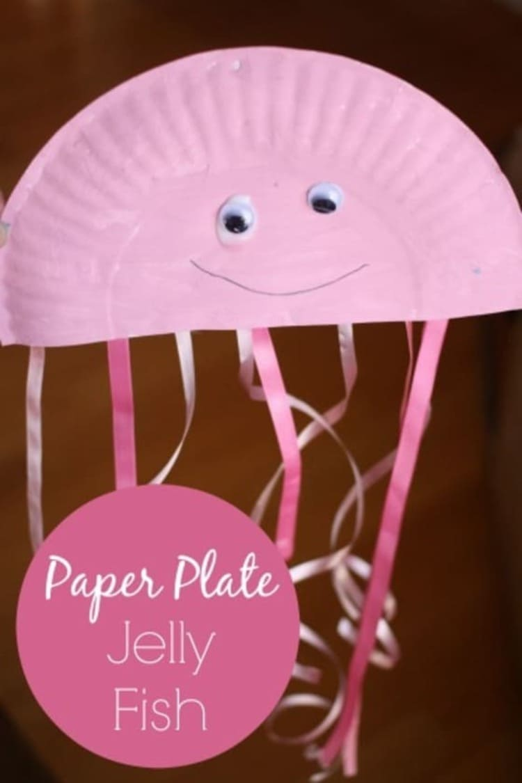 paper plate craft pink jellyfish smiling