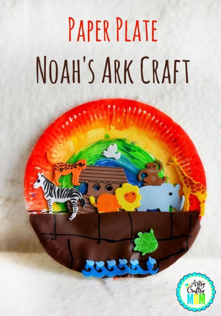 paper plate craft noah`s ark with zebra, lion, monkey, elephant, turtle, giraffe, bird on white background