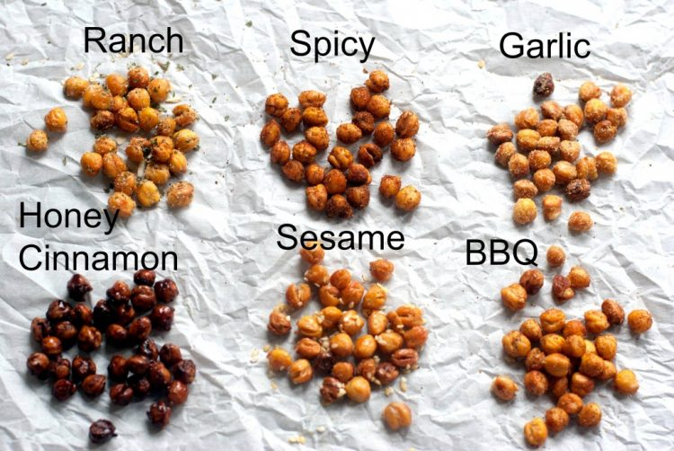 Roasted Chickpeas Recipe six types of flavor - ranch, spicy, garlic, honey and cinnamon, sesame, BBQ