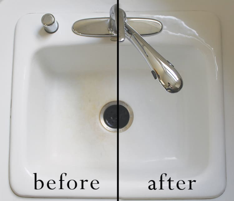 hydrogen peroxide for cleaning sink before and after photo