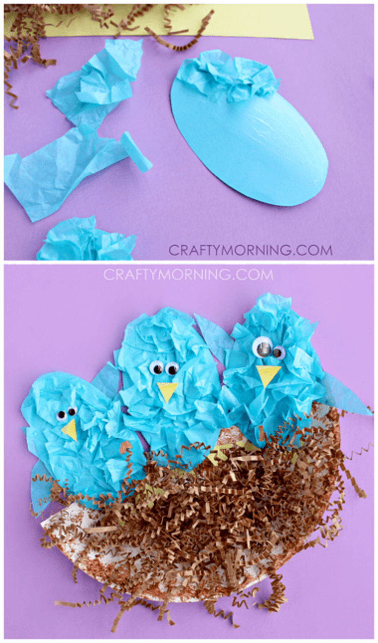 paper plate craft three blue birds in a brown nest on a purple background