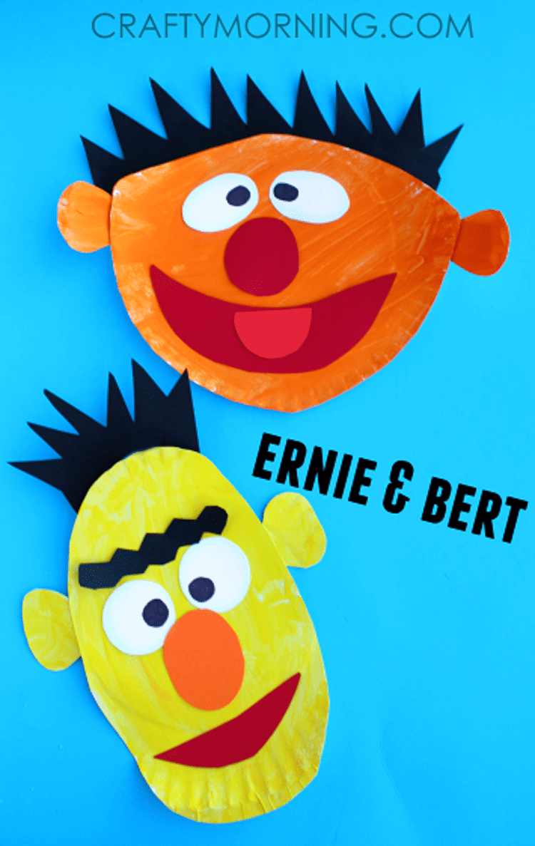 paper plate craft earnie and bert on a blue background