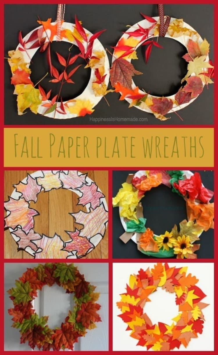 a collage of six photos of fall paper plate wreaths
