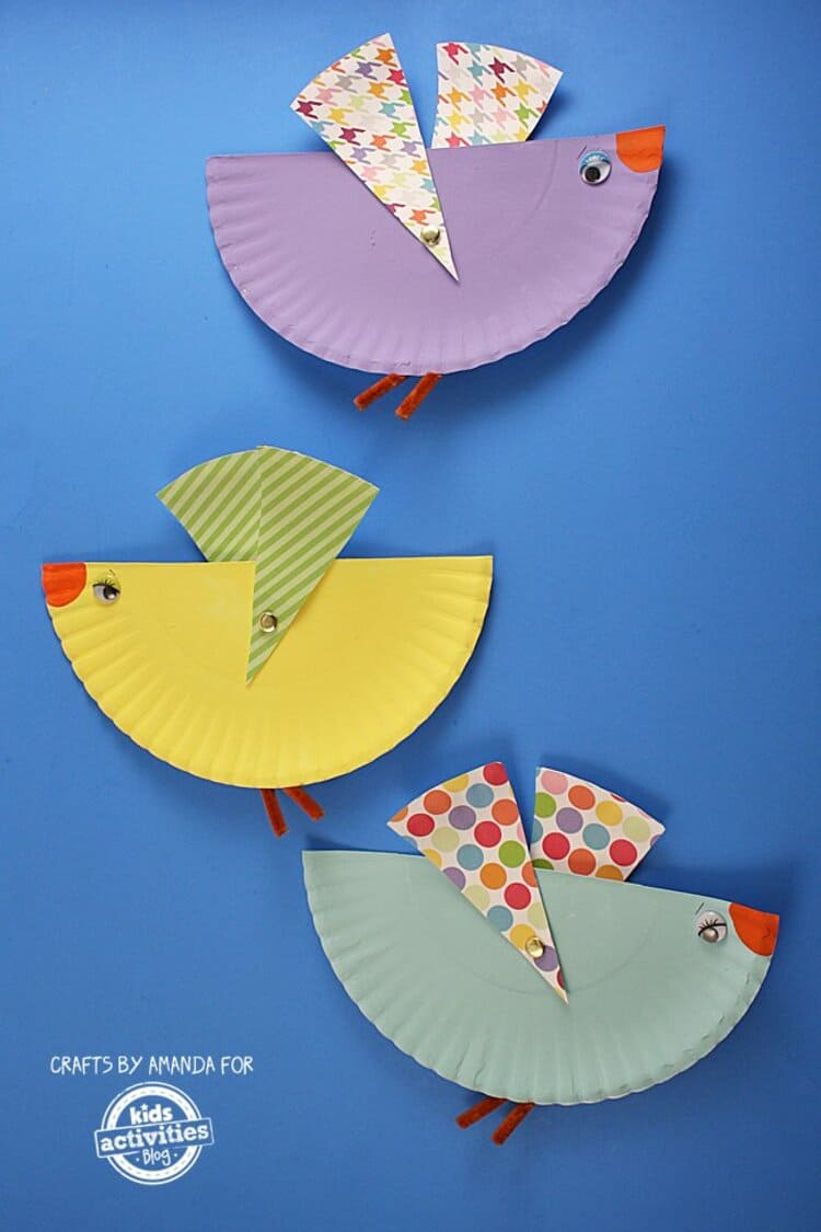 paper plate craft birds with wings that move