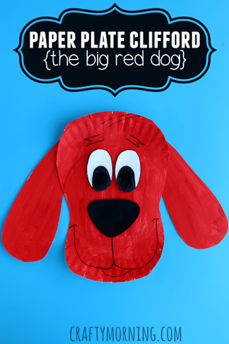 paper plate craft clifford the big red dog on blue background