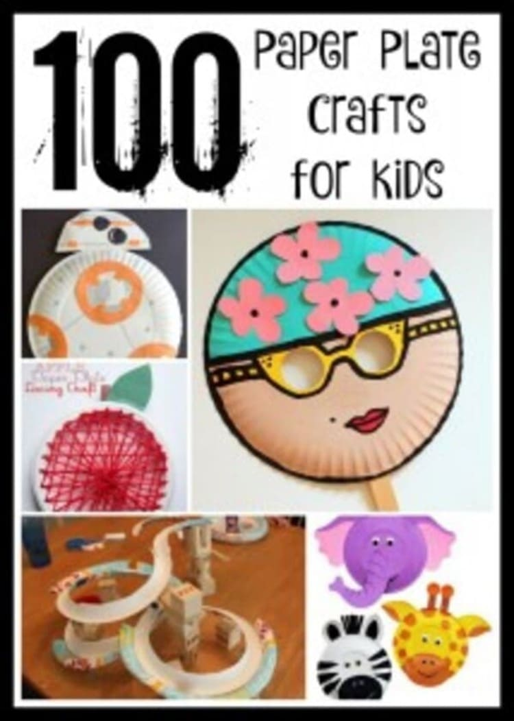 100 super easy and super cute paper plate crafts for kids collage with different photos of paper plate craft ideas like swimmer mask, elephant, robots and others