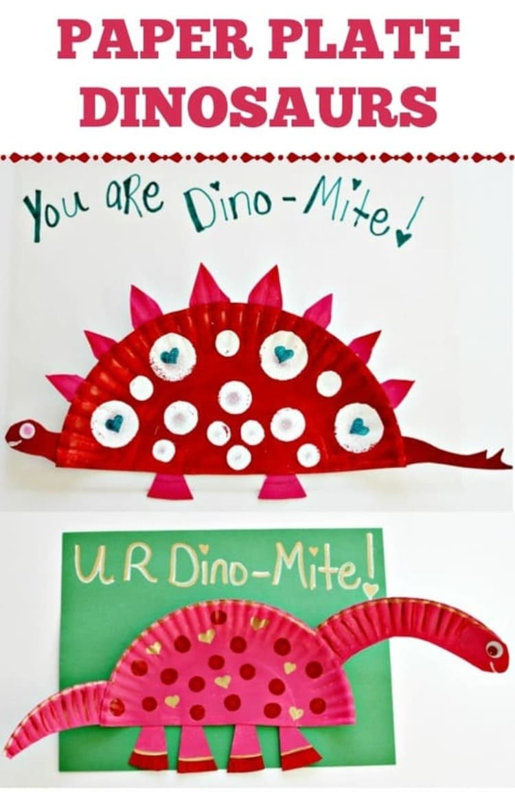 Paper plate craft red dinosaur with white dots on a white background
